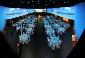 all the tables are set for a wedding in the ballroom at the infinity park event center