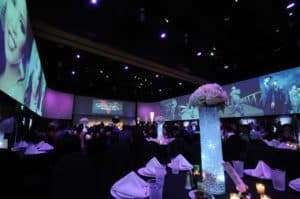 tables are set at infinity park event center for a wedding