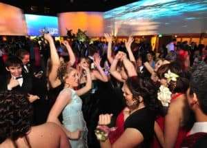 Group of girls dancing at prom