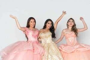 Girls having fun at quinceañera