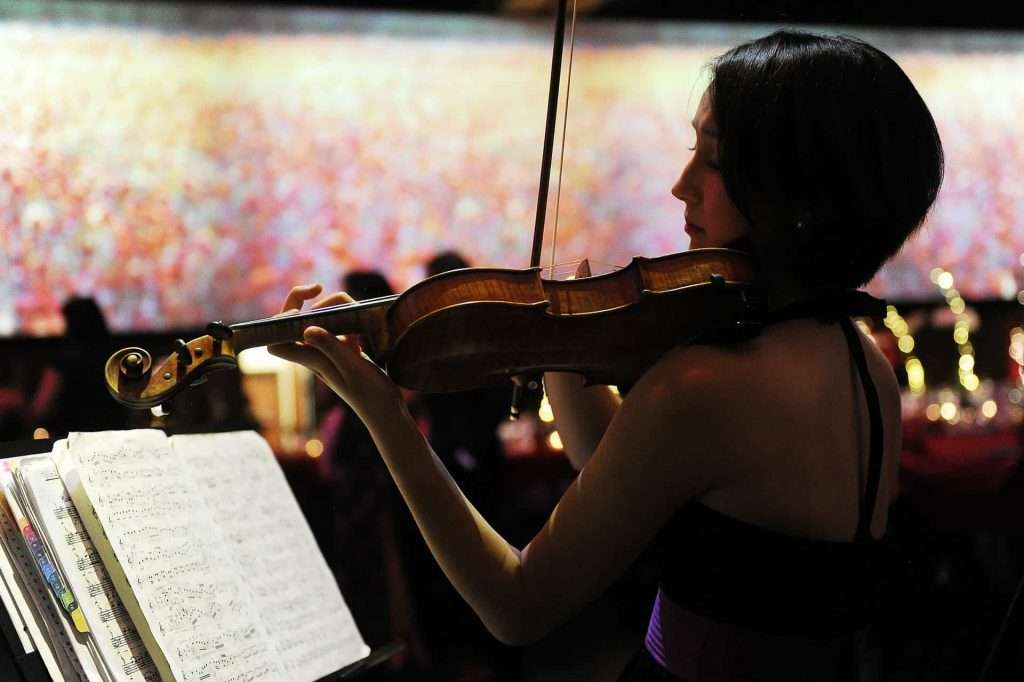 woman playing violin at a fundraiser at Infinity Park Event Center